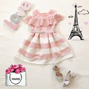🎀 Girls Off Shoulders Pink and White Dress 🎀